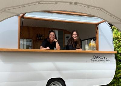 Caravan bar opening into tent